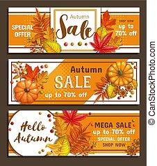 sazonal, outono, bandeiras, venda