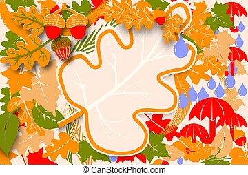 sazonal, outono, ou, cartaz, cartão, bandeira, folhas, acorns., carvalho, venda, etiqueta, amostra, experiência., luminoso, voador, modelo, outono, colorido, olá, maple, design.