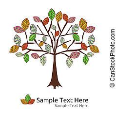 sazonal, outono, vetorial, árvore