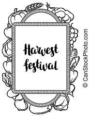 sazonal, poster., festival, legumes, ilustração, outono, frutas, colheita