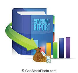 sazonal, relatório, livro, ilustração negócio