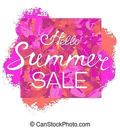 sazonal, verão, flyer., luminoso, desconto, mão, experiência., venda, modelo, floral, lettering., olá