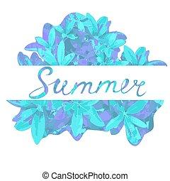 sazonal, verão, quadro, leaves., desconto, mão, venda, modelo, lettering., flyer.