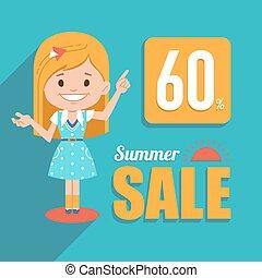 sazonal, verão, shopping, banner., grande, character., venda, ilustração, sale., desconto, quentes, menina bonita, 60.