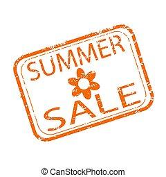 sazonal, verão, shopping, selo, venda, borracha, desconto, design.