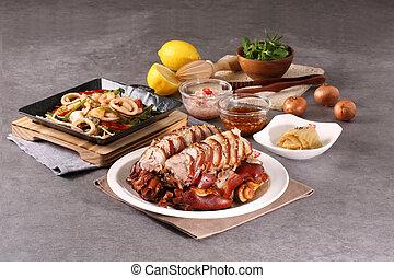 sazonar, cerdo, pies, de, reunión, y, anfitrión, un, variedad, de, mariscos, y, un, delicioso, bata frito, mariscos, anfitrión, cerdo, pies, en, el, griddle!