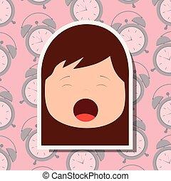 sbadigliare, giovane, faccia, clocks, fondo, ragazza