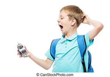 sbadigliare, orologio, allarme, stanco, fondo, bianco, scolaro