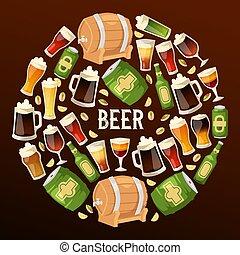 sbarra, alcool, beermug, beerbottle, birra chiara, illustrazione, beerhouse, scuro, birra, vettore, beerbarrel, fondale, fondo, bandiera parte, fabbrica birra, beery