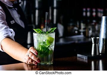 sbarra, cocktail, contatore, mojito, fresco, freddo