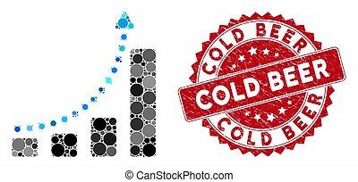 sbarra, graffiato, freddo, collage, birra, francobollo, grafico, tendenza