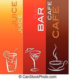 sbarra, icone, coffe, succo, bevanda, disegno, sagoma, ;