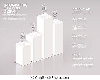 sbarra, moderno, grafico, infographic, bianco, 3d