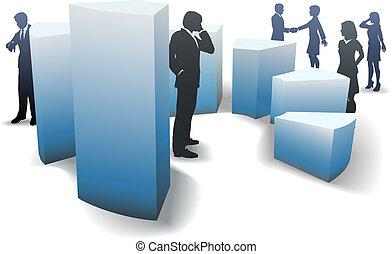 sbarra, persone affari, grafico, forme, circolare