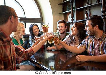 sbarra, pub, birra, bere, amici, o, felice