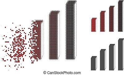 sbarra, punteggiato, grafico, halftone, dissolto, 3d, icona