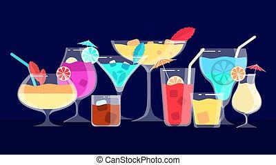 sbarra, ristorante, notte, drinks., vettore, o, sera, alcolico, caffè, cocktails., analcolico, bevande, banner., illustrazione, menu