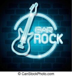 sbarra, rock, neon, etichetta