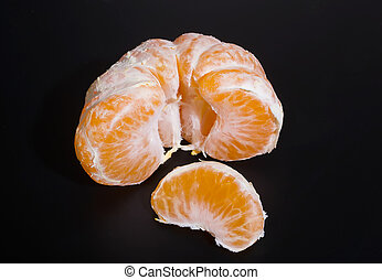 sbucciato, mandarino, su, sfondo nero