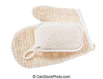 sbucciatura, bianco, set, washclothes, isolato