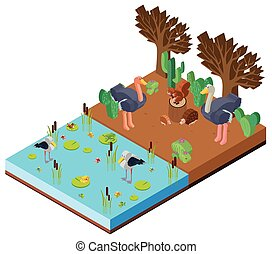 scène, à, animaux, par, les, rivière, dans, 3d, conception