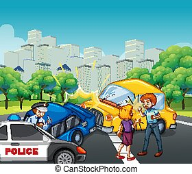 scène, auto, stad, botsing, ongeluk