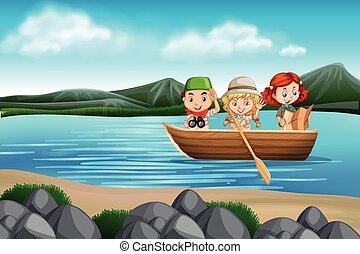 scène, bateau, enfants
