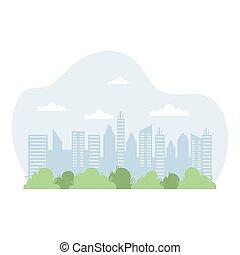 scène, cityscape, icône, urbain, bâtiments