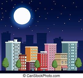scène, cityscape, nuit, bâtiments, urbain