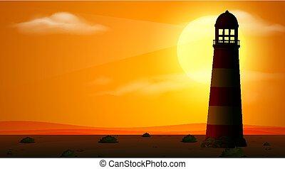 scène, coucher soleil, silhouette phare