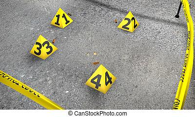 scène crime, asphalte, coquilles