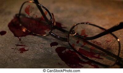 scène, crime, conceptuel, grungy, lunettes, sanguine