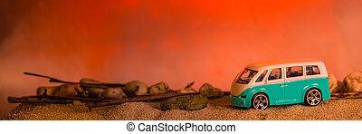 scène, désert, plage coucher soleil, ou, voiture