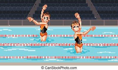 scène, danse, piscine, synchronisé, deux, eau, girl