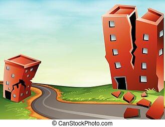 scène, de, séisme, à, toqué, bâtiments