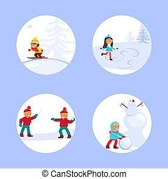 scène, enfants, hiver