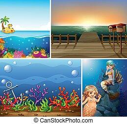 scène, ensemble, mer