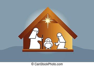 scène, famille, nativité