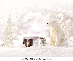 scène, globe, hiver, neige