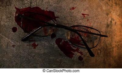 scène, grungy, lunettes, conceptuel, crime, sanguine