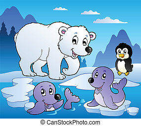 scène hiver, à, divers, animaux, 1
