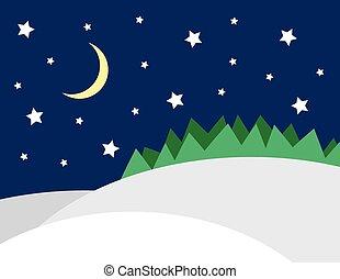 scène hiver, étoiles