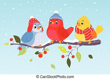 scène hiver, coloré, oiseaux