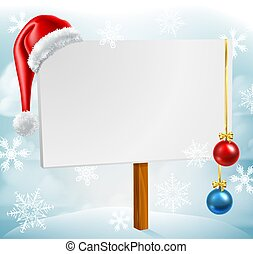 scène, hiver, neige, signe, santa chapeau, noël babioles