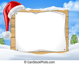 scène, hiver, neige, signe, santa chapeau, noël