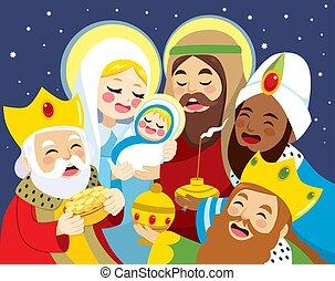 scène, jésus, bébé, naissance, nativité