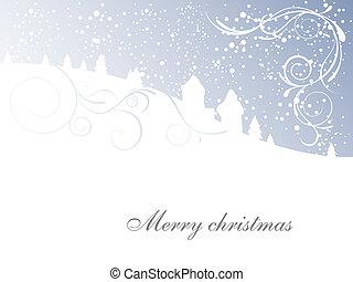scène, -, kerstmis kaart, winter