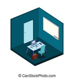 scène, lieu travail, bureau, icône