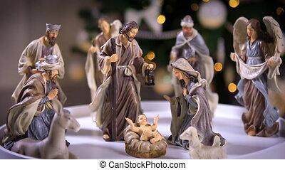 scène, lumières arbre, christ, nativité, jésus, devant, noël