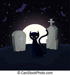 scène, lune, cimetière, chat noir
